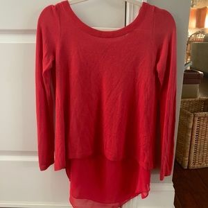 Red Express layered silk blouse top